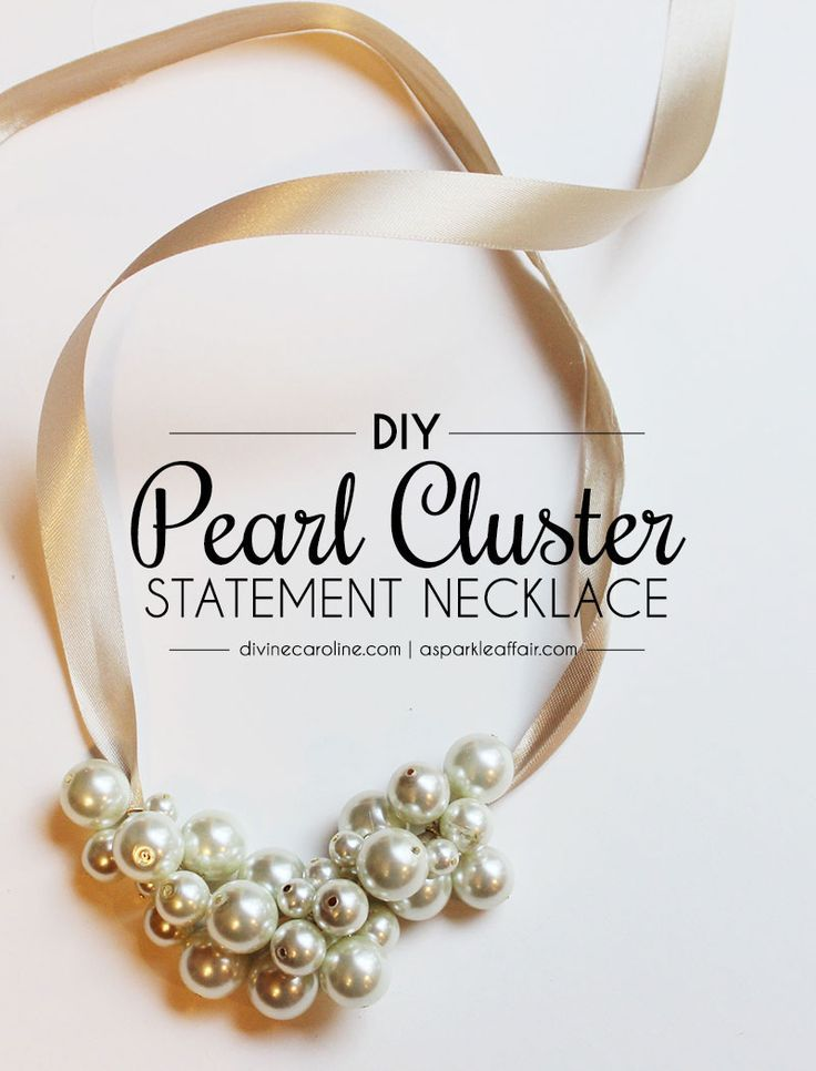 Create this gorgeous DIY pearl cluster statement necklace for less than $10! #divinecaroline #DIY