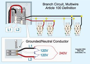 Image result for multiwire branch circuit    diagram    in 2019
