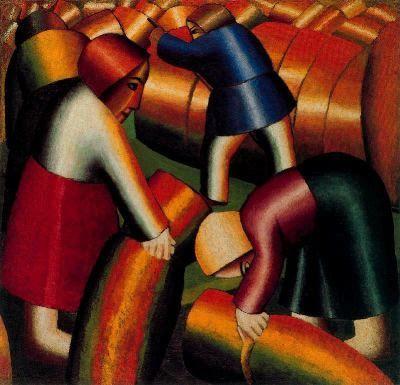 Resultado de imagen de Recogiendo el Centeno. Kazimir Malevich. (1912)