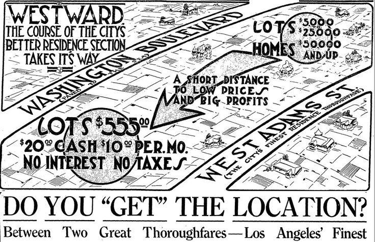 Victor Girard Ad for West Adams lots in LA
