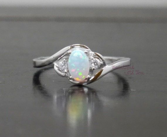 Silver Lab Opal Promise Ring for Her on Etsy, only $26!