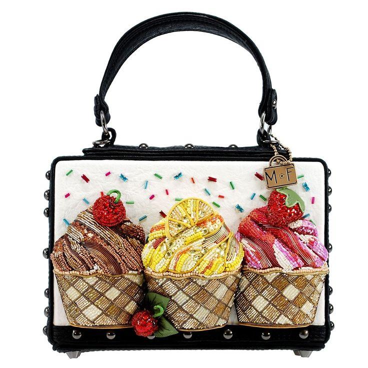 Baby Cakes Embellished Cupcake Theme Top Handle Novelty Handbag Designer Embellished Handbags