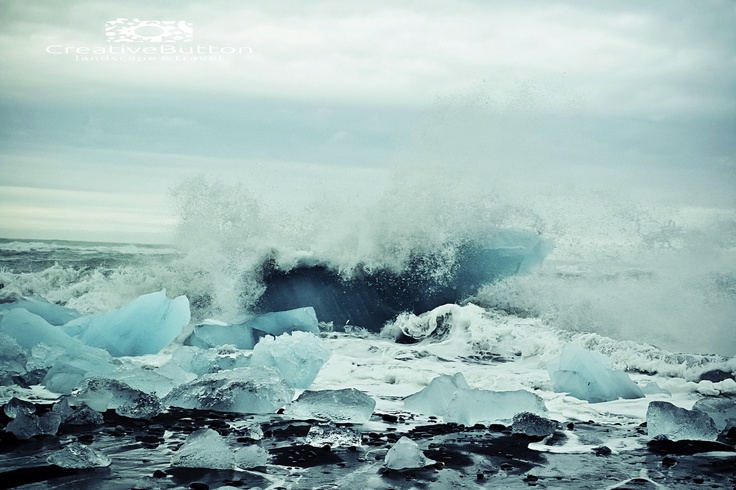 A powerful shot from a storm hitting the icebergs that sail to sea from the lagoon.    I took this in Iceland on my honeymoon :) <3. Iceland, 2012. Travel Photography