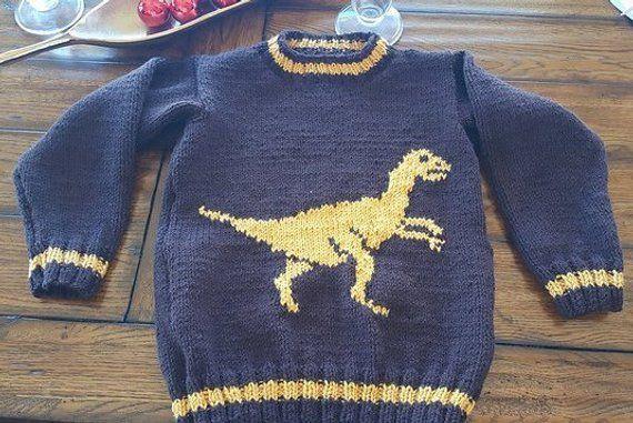 Dinosaur Child S Sweater And Hat Velociraptor Knitting Pattern