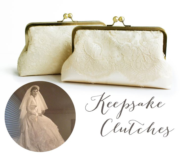 I love keeping tradition alive! But maybe wearing your Grandmother's wedding dress isn't your style.... today I'm sharing how I used this dress worn in 1951 by the brides Grandmother AND in 1979 by the brides Mother to make a pair of custom clutches that will be keepsakes for years to come! www.jennalou.com