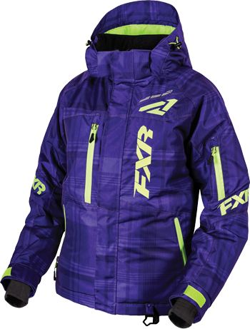 FXR Women's FRESH JACKET (2016).  Purple Plaid-Elec Lime,  This is an excellent option for the girl that doesn't like PINK!