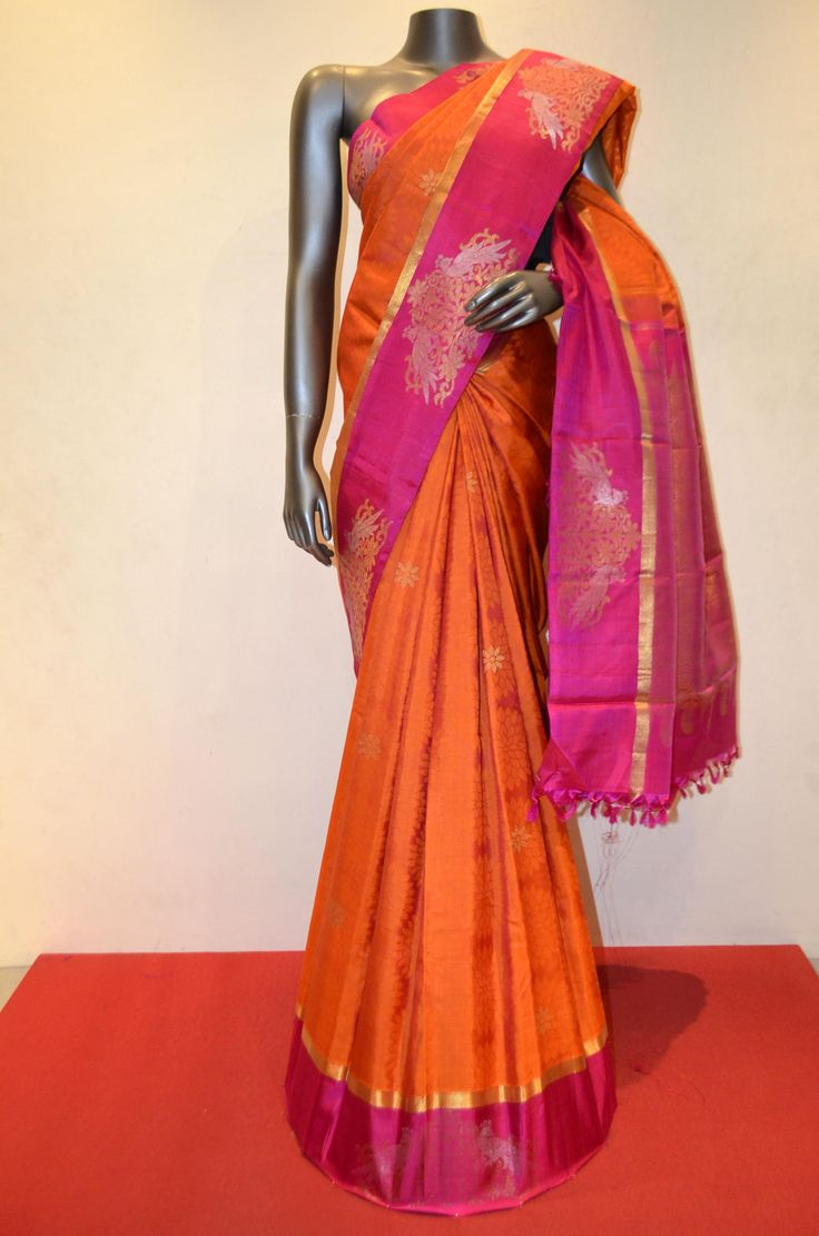 Orange Jacquard Wedding Kanjeevaram Silk Saree Product Code: AB210888 Online Shopping: http://www.janardhanasilk.com/index.php?route=product/product&product_id=4799&search=AB210888