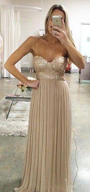 A line Empire Prom Dress,Champagne Evening Dress,Sequins Bridesmaid Dress