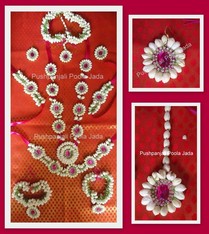 flower jewellery made with real jasmine buds and kundan applique.Set includes gajra, 2 baju bands,earrings,mang tikka, bracelets ,finger rings 1 long necklace and waist belt.