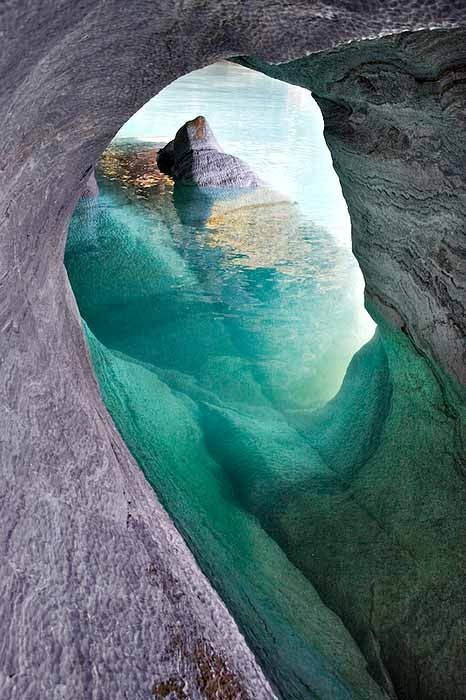 In the Marble Caverns of Lago Carrera, Chilean Patagonia, by Lunda Waidhofer