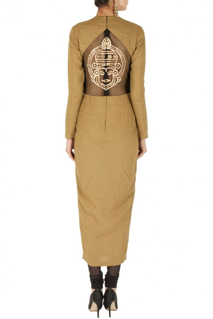 Sand colour kathakali embroidered kurta set available only at Pernia's Pop-Up Shop