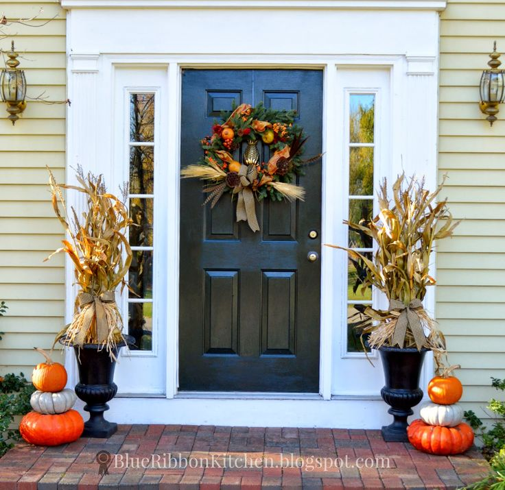 Blue Ribbon Kitchen Recycling Corn Stalks For A Harvest Door Fall Decor And Front Ideas