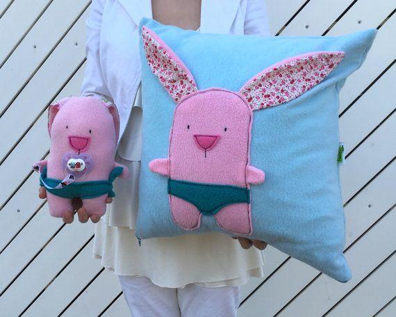 Baby Pillow Set - Pink Stuffed Bunny Plush Toy & Blue Throw Pillow, Baby Shower Gift Set, Soft Bunny Plushies, Fun Kids Pillow, Cute Bunny