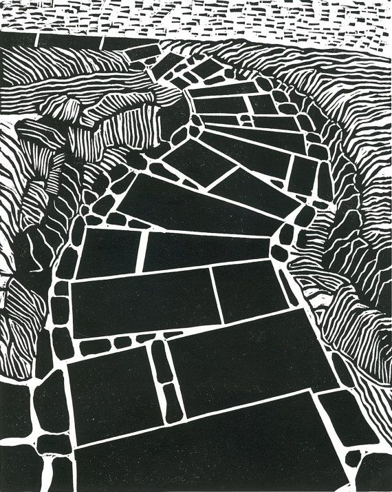 Printmaking LINOCUT  GARDEN STEPS  Relief Print  Wall by magprint, $50.00