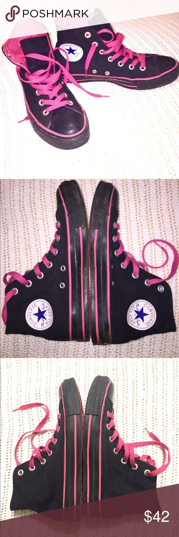 EUC hi-top converse Black and hot pink converse. In GREAT shape. No holes, no stains. Worn only a handful of times. Women's size 7/men's size 5. Sticker mark inside left shoe. 🚫NO TRADES Converse Shoes Sneakers