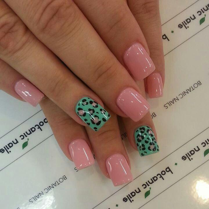Light pink leopard with aqua green