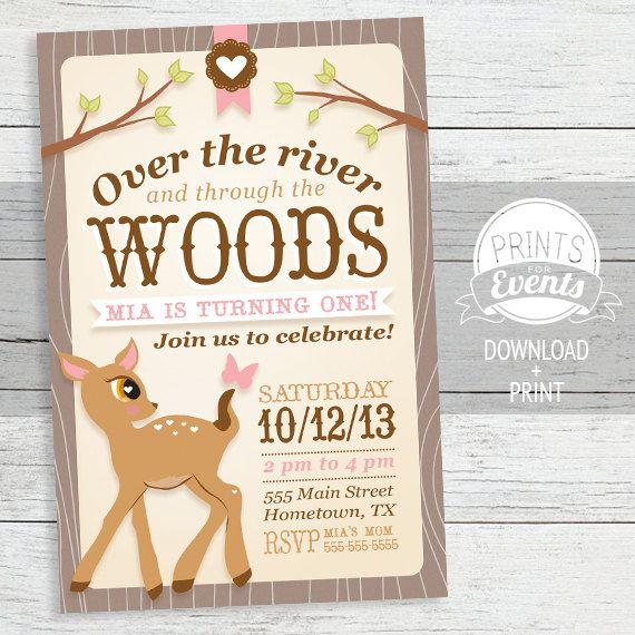 Woodland Deer Birthday Invitation - First Birthday Invitation, Woodland, Girl Birthday Invitation