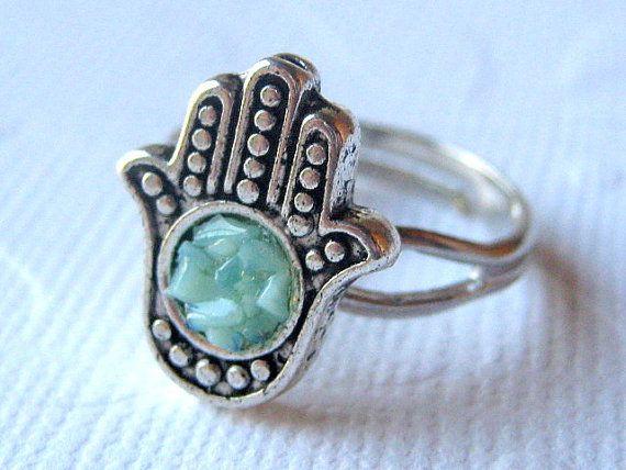 Hamsa Ring, Small Hamsa Ring, Silver Hamsa Ring, Teal Hamsa Ring, Hand Ring, Hamsa Jewelry on Etsy, $15.00