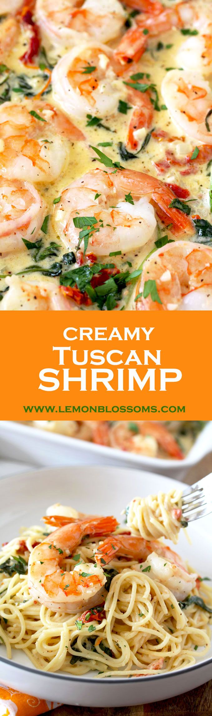 This Creamy Tuscan Shrimp is with flavor! Succulent shrimp in creamy and rich garlic Parmesan sauce with sun dried tomatoes and spinach. The perfect dish to impress your guests.  via @lmnblossoms