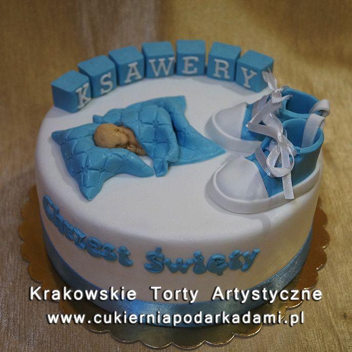 046. Tort dla chłopca na chrzest z bucikami. Cake with small shoes for baptism.