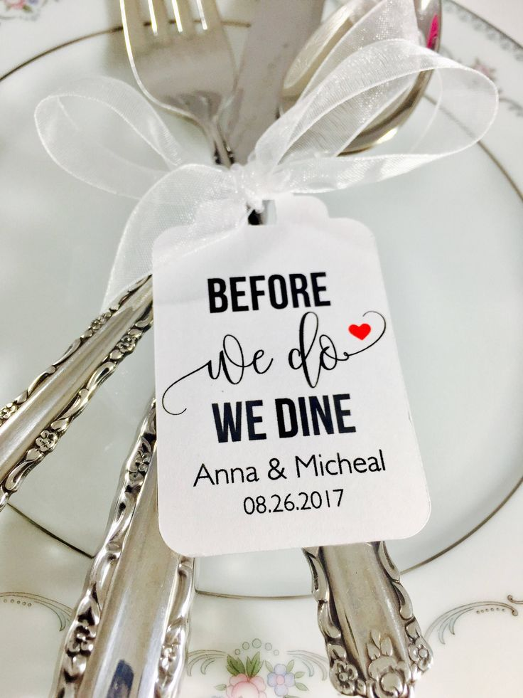 """Before We Do We Dine"" silverware tags would be beautiful for your wedding rehearsal dinner and the finishing touch to your table decor! (scheduled via http://www.tailwindapp.com?utm_source=pinterest&utm_medium=twpin)"
