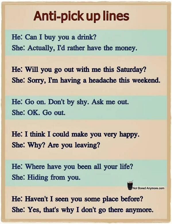 Anti chat up lines