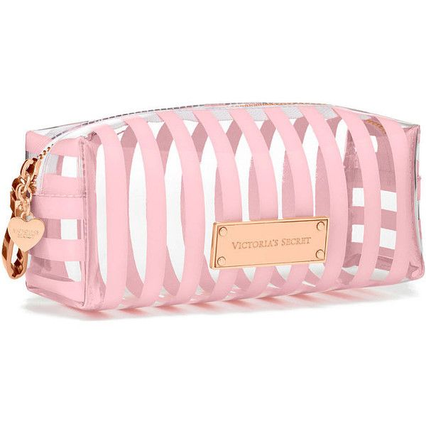 Victoria's Secret Small Cosmetic Bag found on Polyvore featuring bags, handbags, beauty, pink, pink bow purse, victoria secret handbags, pink bag, stripe purse and striped bag