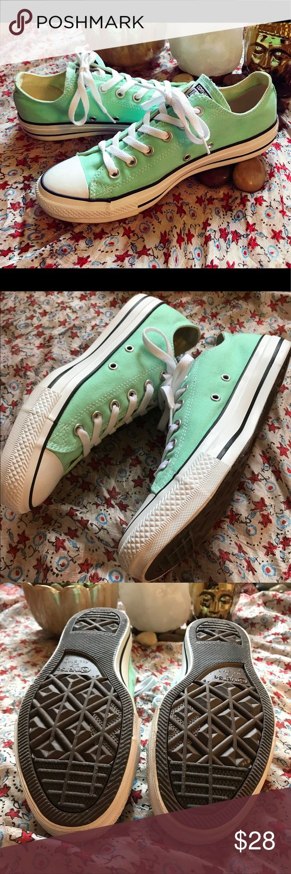-Worn Once!-Teal-Converse-Size: 9 Woman's- -Teal-Converse-Size: 9 Woman's-I've only worn these shoes once since they are slightly too big on me, I'm a size 8.5 They are in amazing condition! The only sign of wear is a tiny scruff on the tip of the shoe, but hardly noticeable! (See pictures) This color is absolutely beautiful for the summer time!☀️Length: 11 in. long. Converse Shoes Sneakers