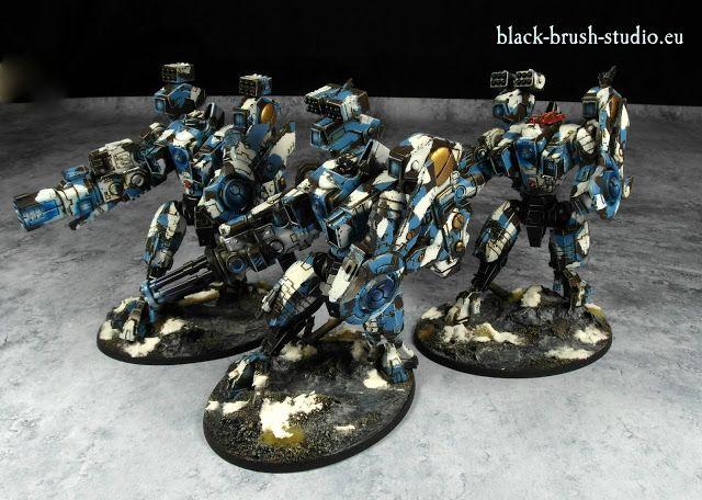 Black Brush Studio - Miniature painting services: Tau Empire: XV104 Riptide Battlesuit in Winter Camo Scheme