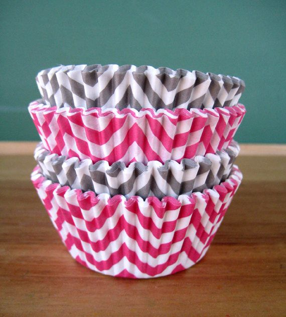 Hey, I found this really awesome Etsy listing at http://www.etsy.com/listing/125035477/pink-and-gray-chevron-cupcake-liners-set