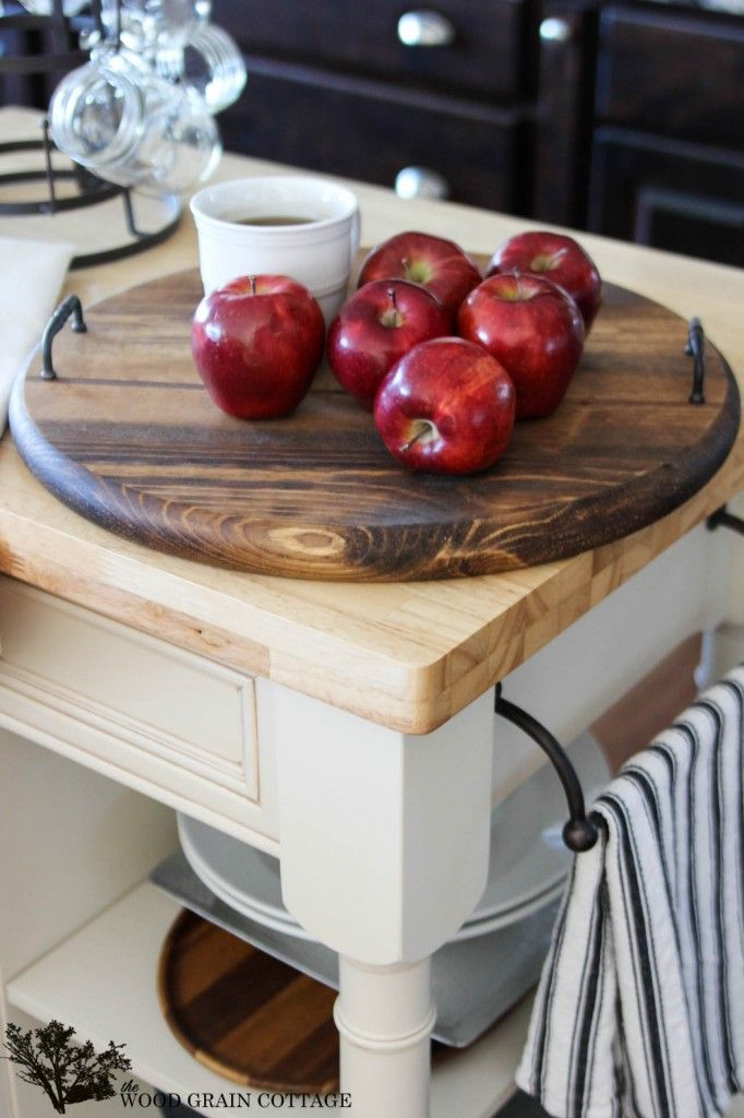 DIY Large Round Serving Tray by The Wood Grain Cottage
