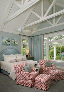 Coastal Transitional Home bedroom with vaulted ceiling  Bedroom  Contemporary  Coastal  Transitional by Studio M Interior Design