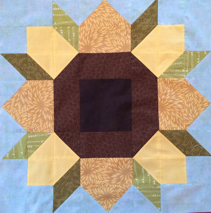 Sunflower Quilt Block Based On The Swoon Pattern By
