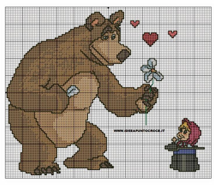 Schema punto croce Masha e orso