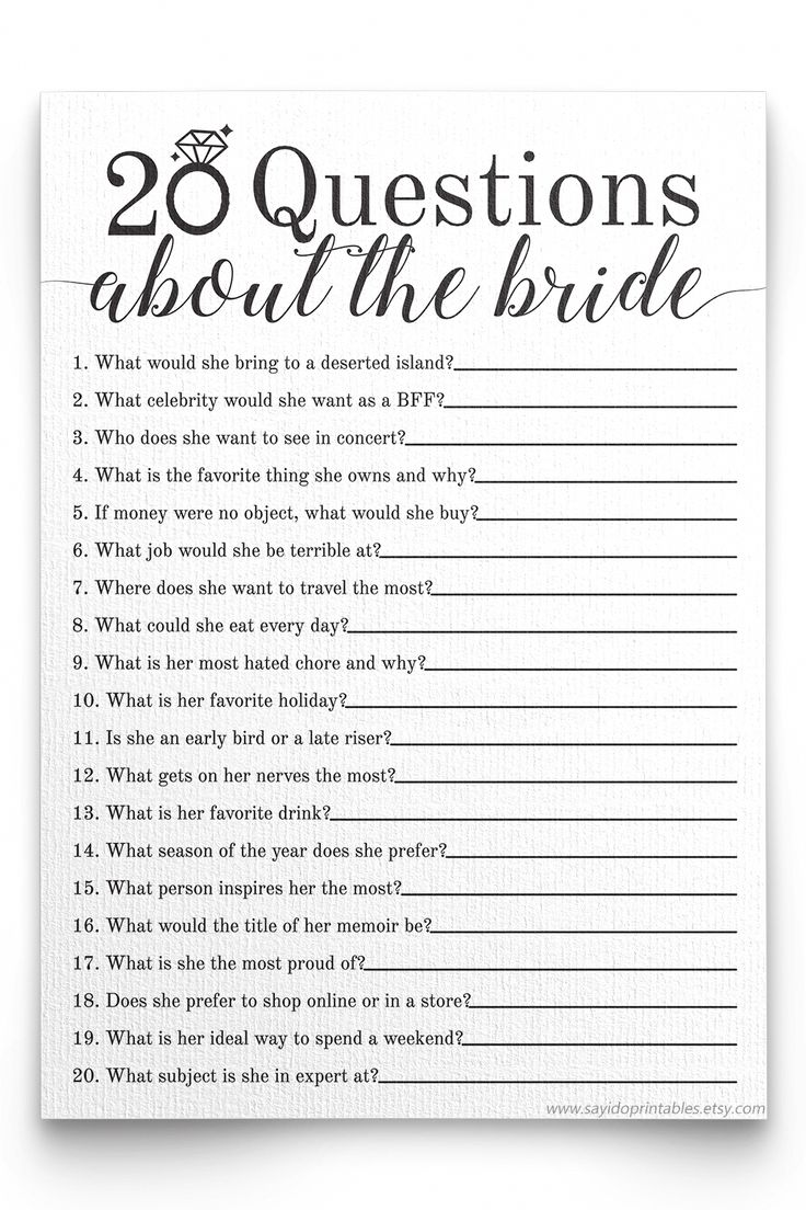 20 Questions About The Bride Bridal Shower Game . Bridal