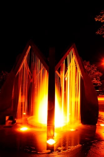 Dutch Fountain in Goderich Ontario at night time
