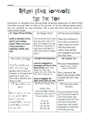 The 25 best holiday homework ideas on pinterest grade for Tic tac toe homework template