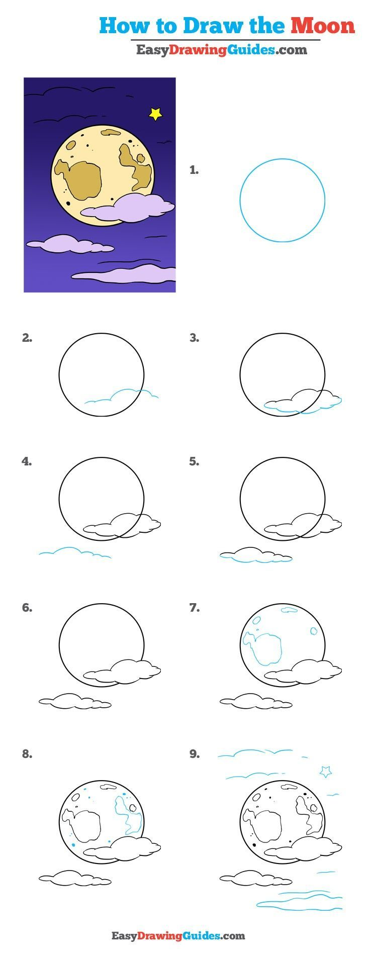 Learn How to Draw Moon: Easy Step-by-Step Drawing Tutorial for Kids and Beginners. #Moon #drawingtutorial #easydrawing See the full tutorial at https://easydrawingguides.com/how-to-draw-the-moon-really-easy-drawing-tutorial/.