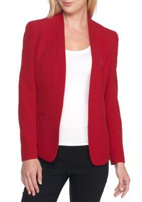 Anne Klein Women's Open Front Tuxedo Jacket - Titian Red - 12