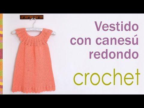 Vestido con canesú redondo tejido a crochet para niñas / Crocheted round yoke dress for girls - YouTube