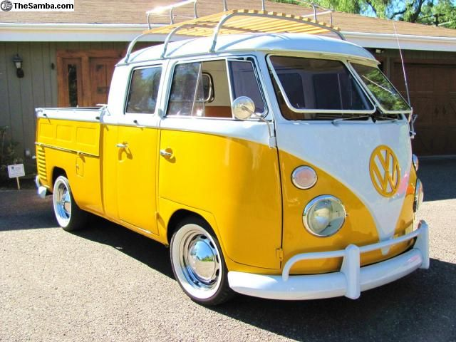 "1963 VW Double Cab. I used to have one  identical in color/luggage rack. Only difference is the tires/wheels. Who knows...maybe it's the same one I sold a few years ago. We named it, ""Buck""...cause it looked half bus/half truck."