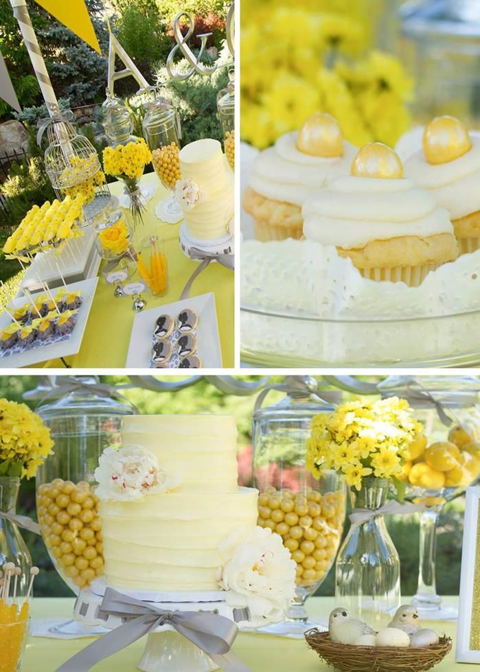 Yellow and Gray Wedding Dessert Table yellow peeps on a stick! @Anna Donnelly