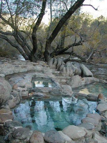 Natural hot springs along the Kern River, California.  There are many natural hot springs in the eastern Sierras of California.