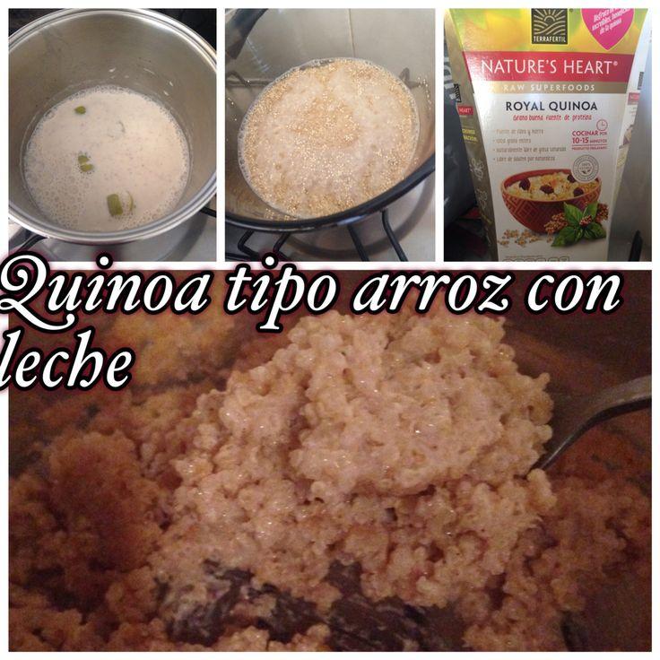 Quinoa tipo arroz con leche. Hervir Quinoa con agua luego agregar leche infusionada con cáscara de limón y canela. Dejar consumir hasta conseguir la consistencia deseada.