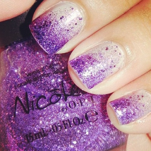Purple glitter wedding nails!