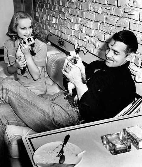 Carole Lombard and Clark Gable and cats!