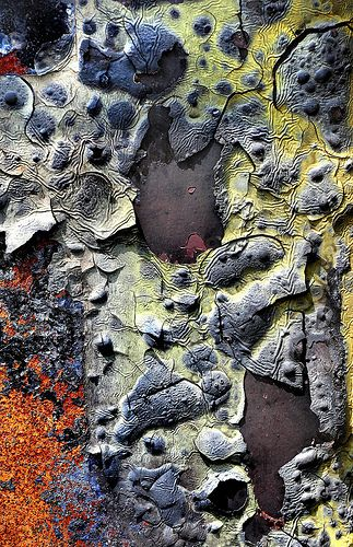 Nature's Artwork - colourful rust surface pattern inspiration with cracked & peeling textures - weathered surfaces; artistic erosion