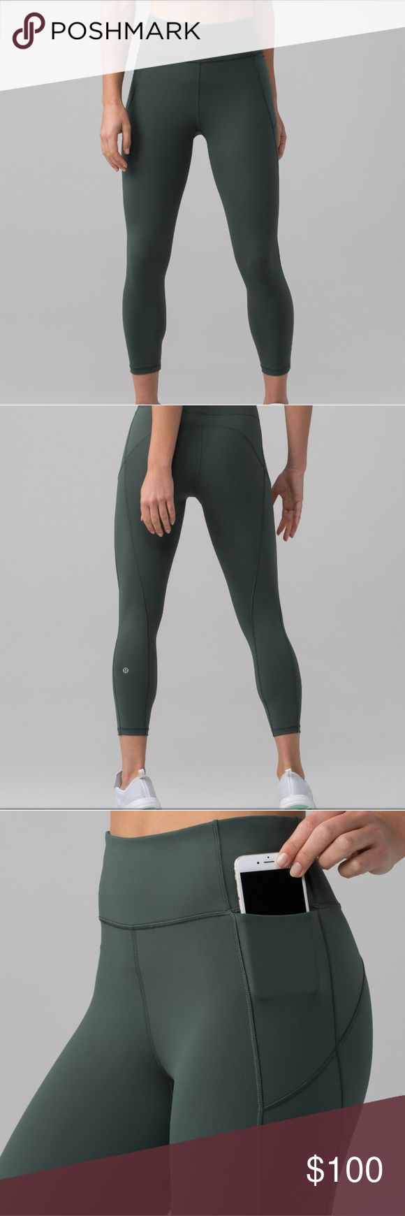 Lululemon final lap crop nwt size 10 Dark forest colored leggings in the nulux naked skin fabric. So comfy! lululemon athletica Pants