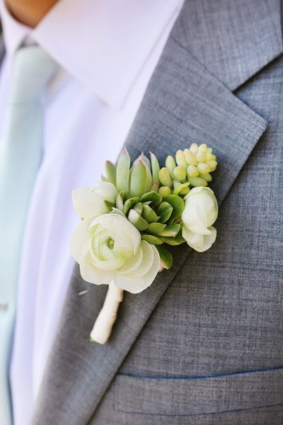 Succulent & Rose #Boutonniere {Chloe Moore Photography}
