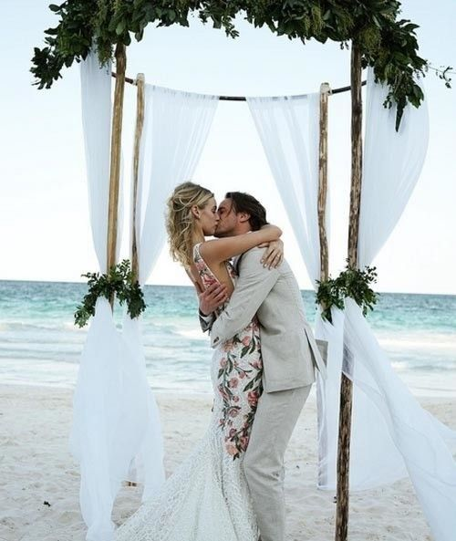 Inside a Mexican beachside wedding set in Tulum: Roxanne Conso married Romain Pavee in a relaxed Mexican coastal wedding. Conso looks after New York City venues including hot spot Up&Down, working alongside his now-wife. Image credit: Instagram.com/marchesafashion
